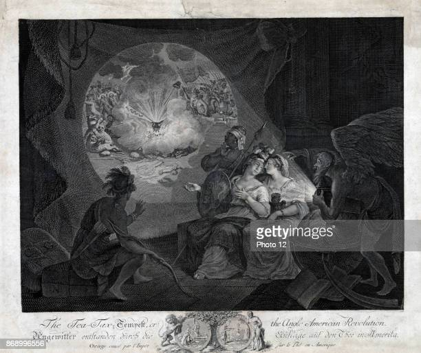 The teataxtempest or the AngloAmerican revolution Print shows a satire expressing a Continental European view of the American Revolution showing...