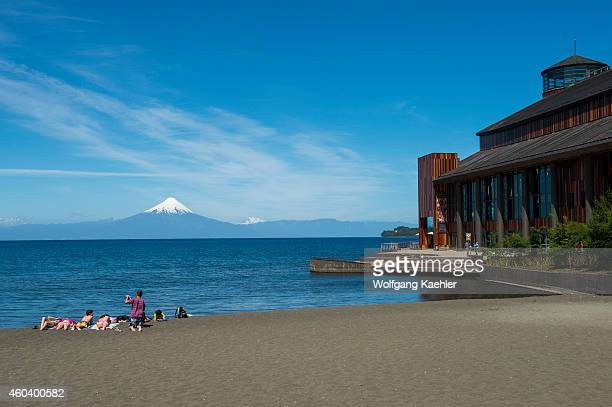 The Teatro del Lago in Frutillar a small town on Lake Llanquihue in the Lake District near Puerto Montt Chile with Osorno Volcano in background