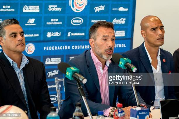 The technical director of Costa Rica's national football team Gustavo Matosas speaks at a press conference where he presented his coaching staff...