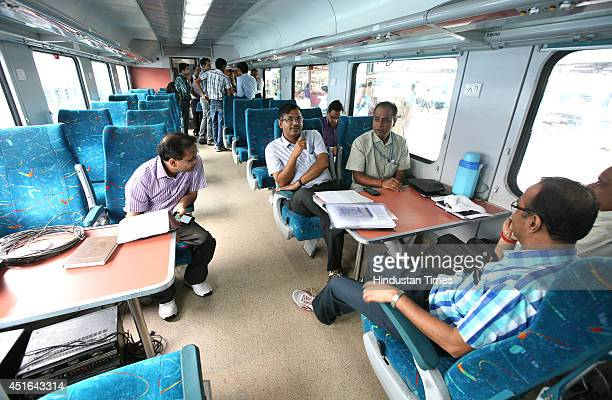 The technical team inside the train during the trial run of a 'semibullet train' between New Delhi and Agra from New Delhi railway station on June 3...