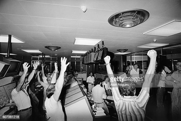 The technicians in the control room of the Guiana Space Center explode with joy after the successful launch of the Ariane 01 rocket