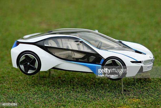 The tee box marker at the hole in one tee box a miniature BMW i8 the car on offer for a hole in one during the second round of the BMW International...