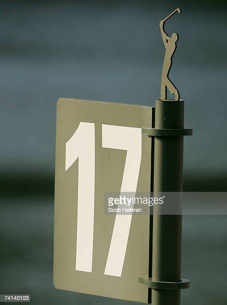 The tee sign on the 17th hole as seen during the final round of THE PLAYERS on the Stadium Course at the TPC Sawgrass on May 13 2007 in Ponte Vedra...