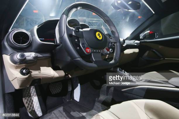 The teering wheelof the new Ferrari 812 Superfast is seen at its Australasian Premiere on June 28 2017 in Melbourne Australia The 812 Superfast is...