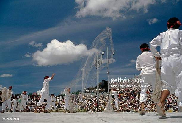 The Tehuantepec fishermen's dance during the celebrations at the Guelaguetza festival Oaxaca Mexico