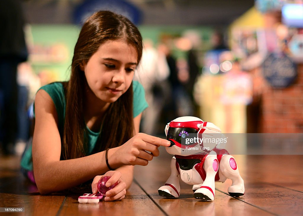 The Tekstra Robotic Puppy, named one of the must-have toys for Christmas 2013, is unveiled today at the Dream Toys Fair at St Mary's Church on November 6, 2013 in London, England.