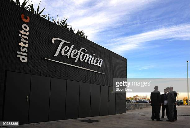 The Telefonica logo hangs on display on a communications building at the company's headquarters in Madrid, Spain, on Wednesday, Nov. 11, 2009....