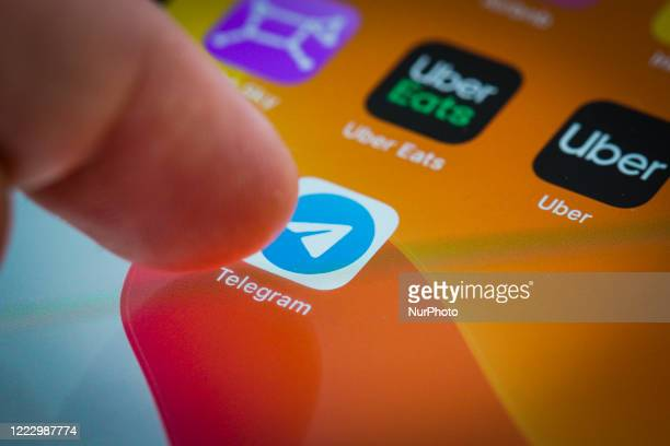 The Telegram cloud-based instant messaging application is seen on an iPhone in this photo illustration on June 26, 2020 in Warsaw, Poland. A report...