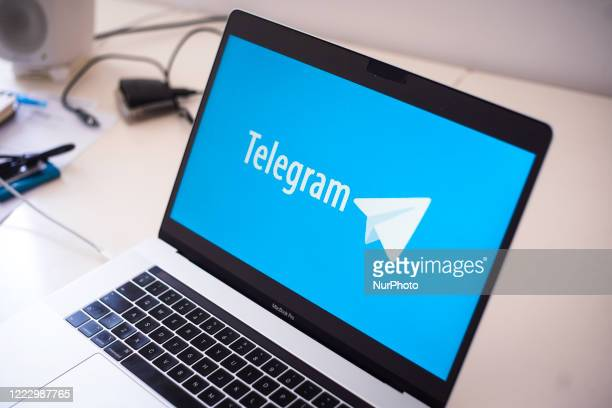 The Telegram instant messaging application logo is seen on an Apple MacBook Por laptop in this photo illustration on June 26, 2020 in Warsaw, Poland....