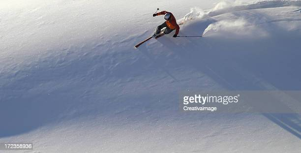la curva del telemarker - telemark stock pictures, royalty-free photos & images