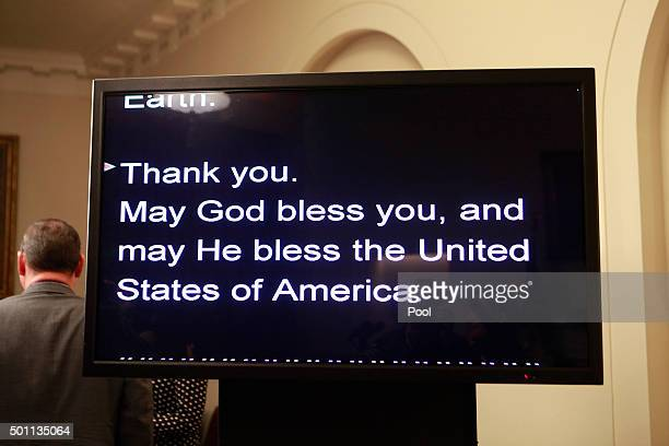 The teleprompter as US President Barack Obama makes a statement on the climate agreement in the Cabinet Room of the White House on December 12 2015...