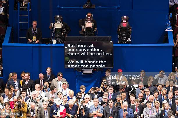 The teleprompter during Donald Trump nomination acceptance speech seen from behind the stage area on July 21, 2016 at Quicken Loans Arena in...