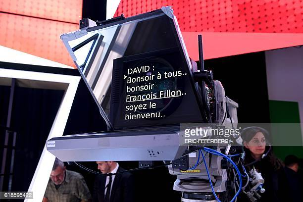 "The teleprompter is pictured during the show ""L'Emission politique"" at the studios of French television channel France 2 in Saint-Cloud, west of..."