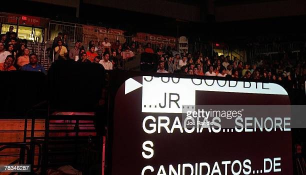 The teleprompter rolls thanking the candidates at the end of the Univision Republican presidential forum at the University of Miami's BankUnited...