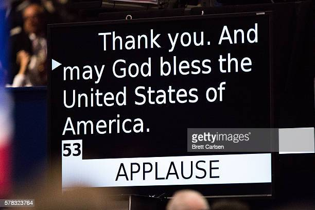 The teleprompter shows the final line of the speech of Sen Ted Cruz as he failed to directly endorse Donald Trump on July 20 2016 at Quicken Loans...