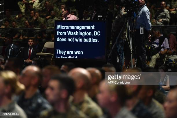 The teleprompter used by US President Donald Trump as he speaks during his address to the nation from Joint Base Myer-Henderson Hall in Arlington,...