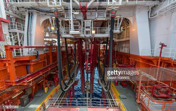 The telescopic hydraulic system of the pipeline in one of the bottom levels of La Muralla IV exploration oil rig operated by Mexican company Grupo R...