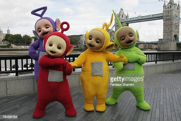 The Teletubbies pose at the Teletubbies 10th anniversary celebration September 3 2007 in LondonEngland