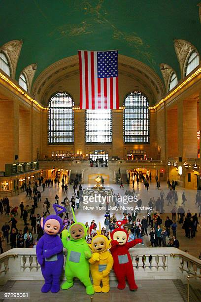The Teletubbies Tinky Winky Dipsy LaaLaa and Po make their first appearance in the US with a visit to Grand Central Terminal