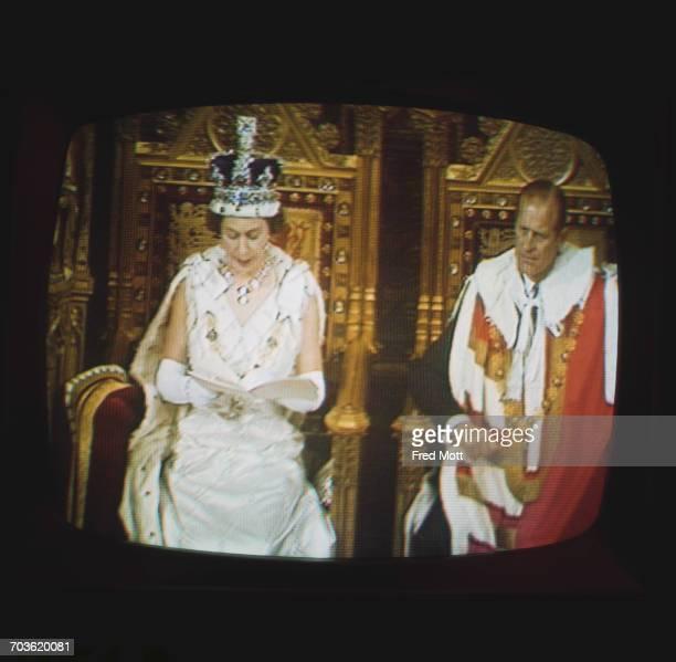 The televisation of the State Opening Of Parliament in the House of Lords London 2nd July 1970 Queen Elizabeth II makes the Queen's Speech with...