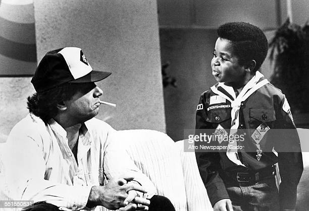 The television actor Gary Coleman famous for his childhood role in Different Strokes comedy television series with another actor in the television...