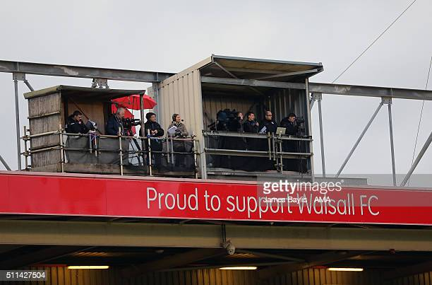 The television and radio broadcast gantry at Bescot Stadium during the Sky Bet League One match between Walsall and Wigan Athletic on February 20...