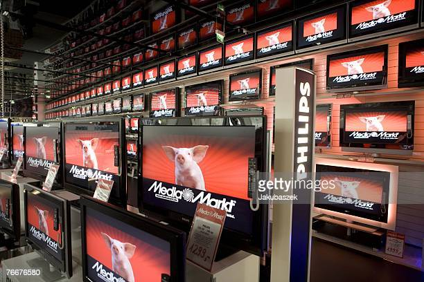 The television department of the new electronic shopping center Mediamarkt is shown lined with products at the shopping mall Alexa September 11 2007...