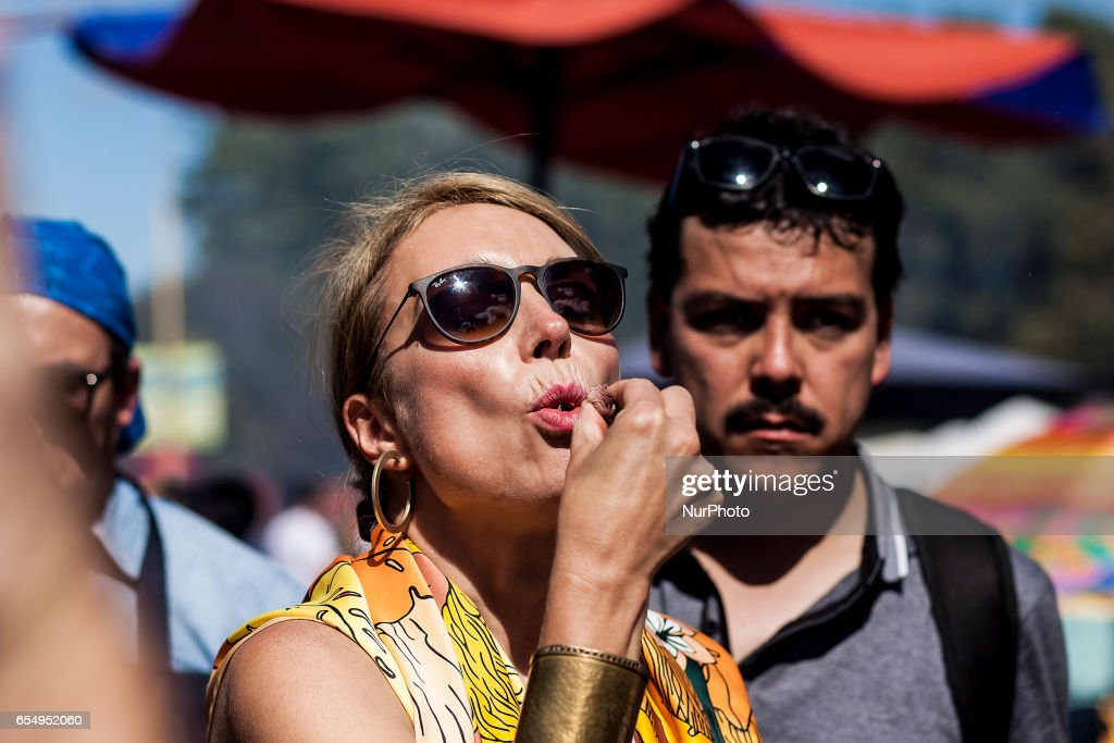 The television entertainer karen doggenweiler eats a piece of roast beef. More than one hundred people participated in the roasting contest organized by the City of Osorno, Chile, on 18 March 2017 that was held in Chuyaca Park, this activity seeks to highlight the important meat production in the region.