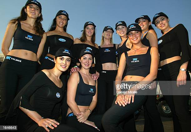 The TelMex grid girls at the Gran Premio GiganteTelmex round 19 of the CART Fed Ex Championship Series on November 16 2002 at the Autodromo Hermanos...