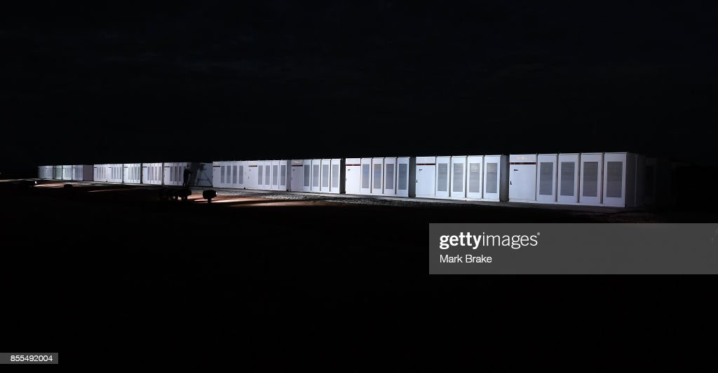 The Telsa Powerpack during Tesla Powerpack Launch Event at Hornsdale Wind Farm on September 29, 2017 in Adelaide, Australia. Tesla will build the world's largest lithium ion battery after coming to an agreement with the South Australian government. The Powerpack project will be capable of an output of 100 megawatts (MW) of power at a time and the huge battery will be able to store 129 megawatt hours (MWh) of energy. Tesla CEO Elon Musk has promised to build the Powerpack in 100 days, or he will deliver it for free.