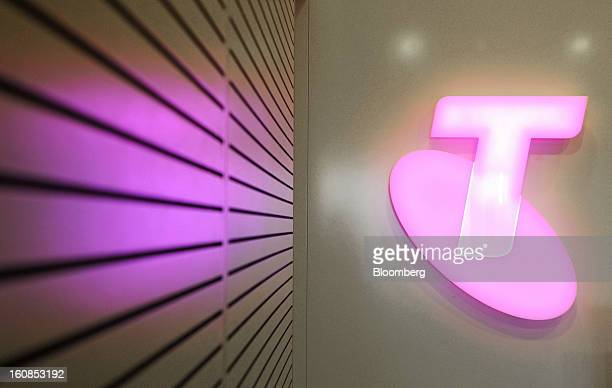 The Telstra Corp logo is displayed at the company's headquarters in Melbourne Australia on Thursday Feb 7 2013 Telstra Corp Australia's largest phone...
