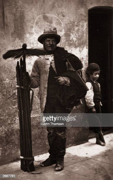 'The Temperance Sweep' and a barefooted boy small enough to fit inside narrow passages Original Artwork From 'Street Life in London' by John Thomson...