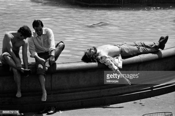 The temperatures rose again today in London and pavements became hotter and hotter A man relaxes in the sunshine in Trafalgar Square 24th June 1976