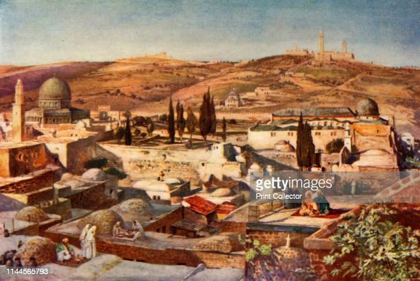 """The Temple Area and the Mount of Olives from Mount Zion', 1902. From """"The Holy Land"""", painted by John Fulleylove, R.I. [Adam & Charles Black, London,..."""