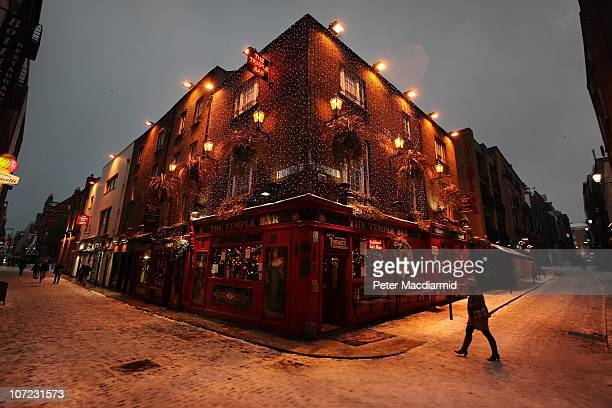The Temple Bar pub is swathed in Christmas decorations on December 1, 2010 in Dublin, Ireland. The Irish economy has faltered after years of growth...