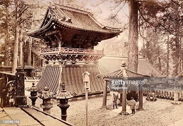 The temple bell in the grounds of the mausoleum of Shogun Tokugawa Ieyasu in Nikko circa 1890