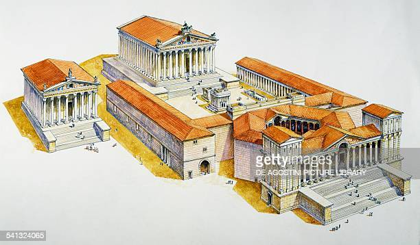 The temple complex of Baalbek in Roman times drawing Lebanon Roman civilisation 1st century BC3rd century AD