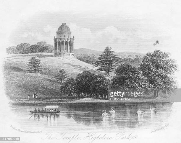 The temple in the grounds of Highclere Castle, the country seat of the Earls of Carnarvon, Hampshire, England, circa 1850. Engraving published 4th...