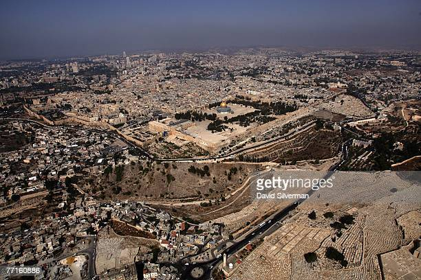 The Temple Mount known to Muslims as elHarem alSharif with it's golden Dome of the Rock Islamic shrine dominates this view of the Old City October 2...