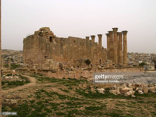 'The Temple of Artemis 2nd Century AD stone building Jordan Jerash Whole artwork view View of the Temple of Artemis from southwest with a corinthian...