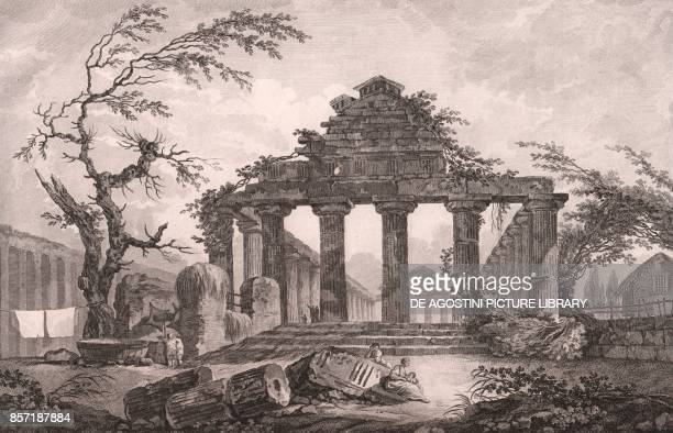 The Temple of Athena or Temple of Ceres in Paestum Capaccio Paestum Campania Italy etching ca 37x245 cm from Voyage pittoresque a Naples et en Sicile...
