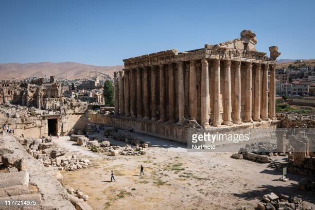 The Temple of Bacchus stands amid the archeological site and Roman ruins of Baalbek an ancient city and tourist attraction in Lebanon that was known...