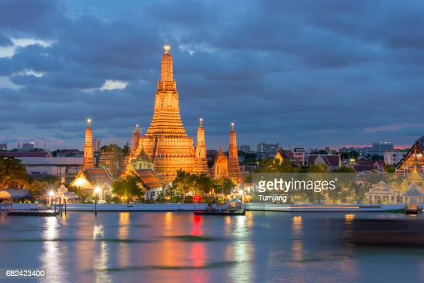 The Temple of dawn or Wat Arun on the night Bangkok,Thailand