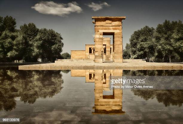 The Temple of Debod (Templo de Debod) an ancient Egyptian temple that was dismantled and rebuilt in one of Madrid's parks, the Parque del Oeste, Madrid, Spain.
