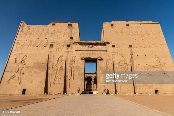 the temple of horus at edfu temple in egypt - treasuregold stock pictures, royalty-free photos & images
