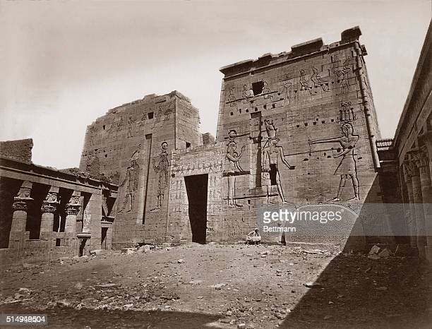 The Temple of Isis a large pylon temple on Philae island at the end of the 19th Century