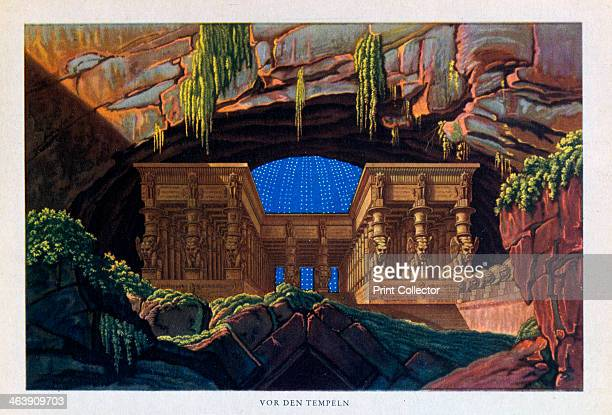 The temple of Isis and Osiris from The Magic Flute 1816 Stage design by Karl Freidrich Schinkel for The Magic Flute showing the temple of Isis and...
