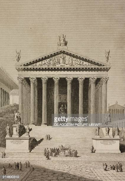 The Temple of Jupiter Stator in the ancient Rome Italy engraving by Lemaitre from Italie Ancienne second part by Duruy Filon Lacroix and Yanoski...
