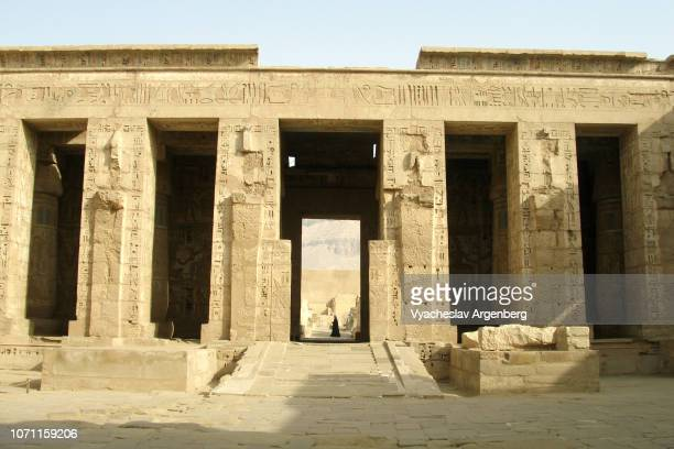 the temple of ramesses iii at medinet habu, egypt - argenberg stock pictures, royalty-free photos & images