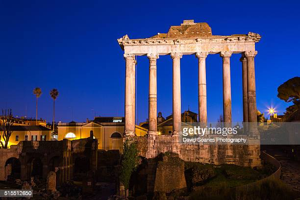 The Temple of Saturn at dusk in the Roman Forum, Rome, Italy